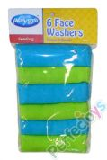 FACE WASHERS 6PACK PLAY GRO