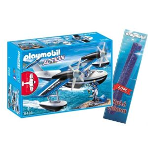 TOY CANDLE PLAYMOBIL ACTION POLICE SEAPLANE