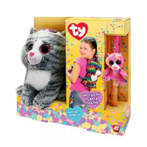 TOY CANDLE TY BACKPACK AND PLUSH WITH CLIP - 6 DESIGNS