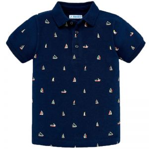 MAYORAL SHORT SLEEVES POLO STAMPED NAVY BLUE