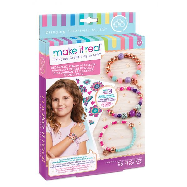 MAKE IT REAL - BEDAZZLED CHARM BRACELETS BLOOMING CREATIVITY