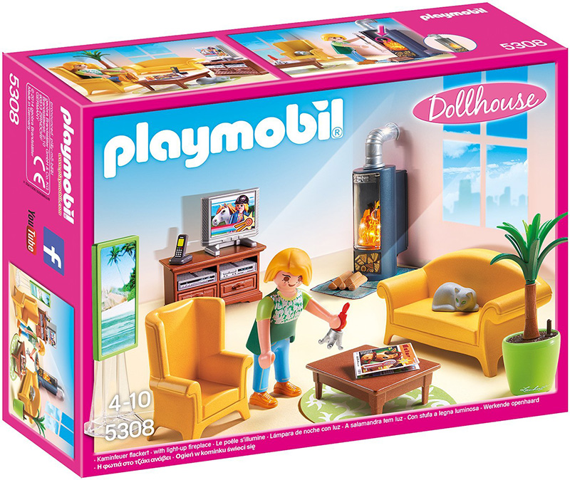 Playmobil dollhouse living room with fireplace 279015 for Playmobil living room 4282