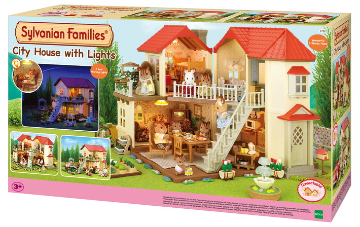 the sylvanian families city house with lights 305029. Black Bedroom Furniture Sets. Home Design Ideas