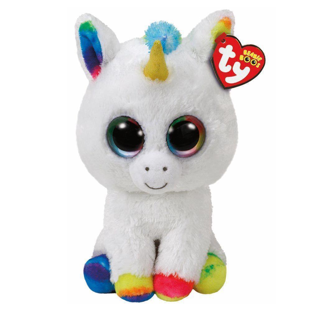 Ty Beanie Boos Plush White Unicorn With Colours 15 Cm